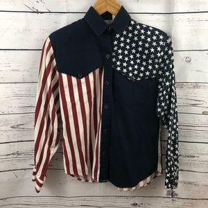Roper Western American Flag Button Down Size 7